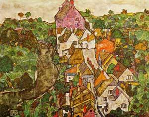 Landscape at Krumau 1916 | Egon Schiele | Oil Painting