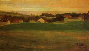 Meadow with Village in Background II 1907 | Egon Schiele | Oil Painting