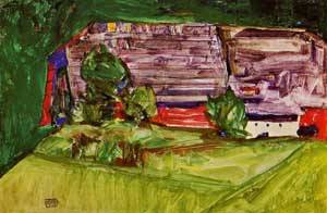 Peasant Homestead in a Landscape 1913   Egon Schiele   Oil Painting
