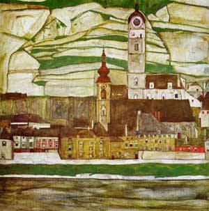 Stein on the Danube with Terraced Vineyards 1913 | Egon Schiele | Oil Painting