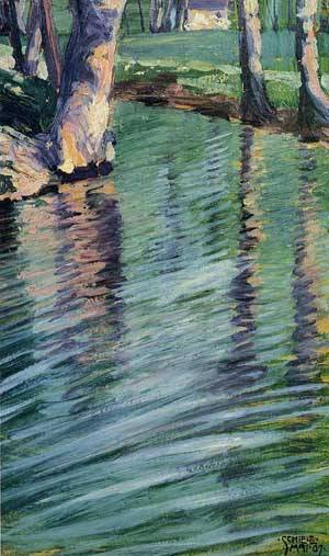Trees Mirrored in a Pond 1907 | Egon Schiele | Oil Painting