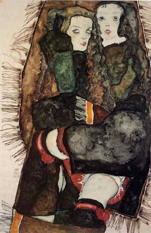 Two Girls on a Fringed Blanket 1911 | Egon Schiele | Oil Painting