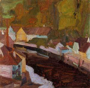 Village by the River II 1908 | Egon Schiele | Oil Painting