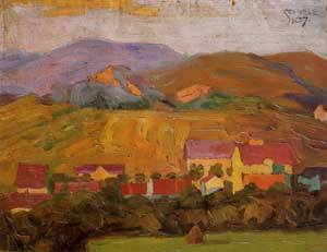 Village with Mountains 1907 | Egon Schiele | Oil Painting