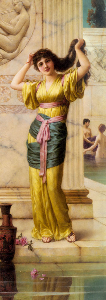 A Roman Beauty In The Baths   Eisman Semenowsky   Oil Painting