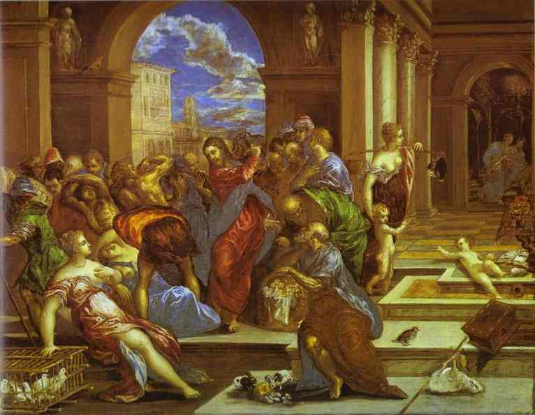 Christ Driving The Traders From The Temple 1570 | El Greco | Oil Painting