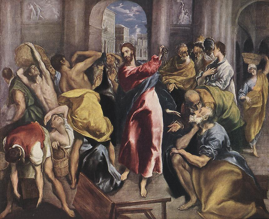 Christ Driving The Traders From The Temple C 1600 | El Greco | Oil Painting
