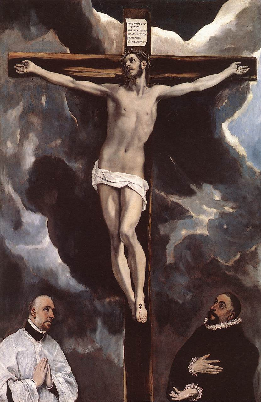 Christ On The Cross Adored By Donors 1585-90 | El Greco | Oil Painting
