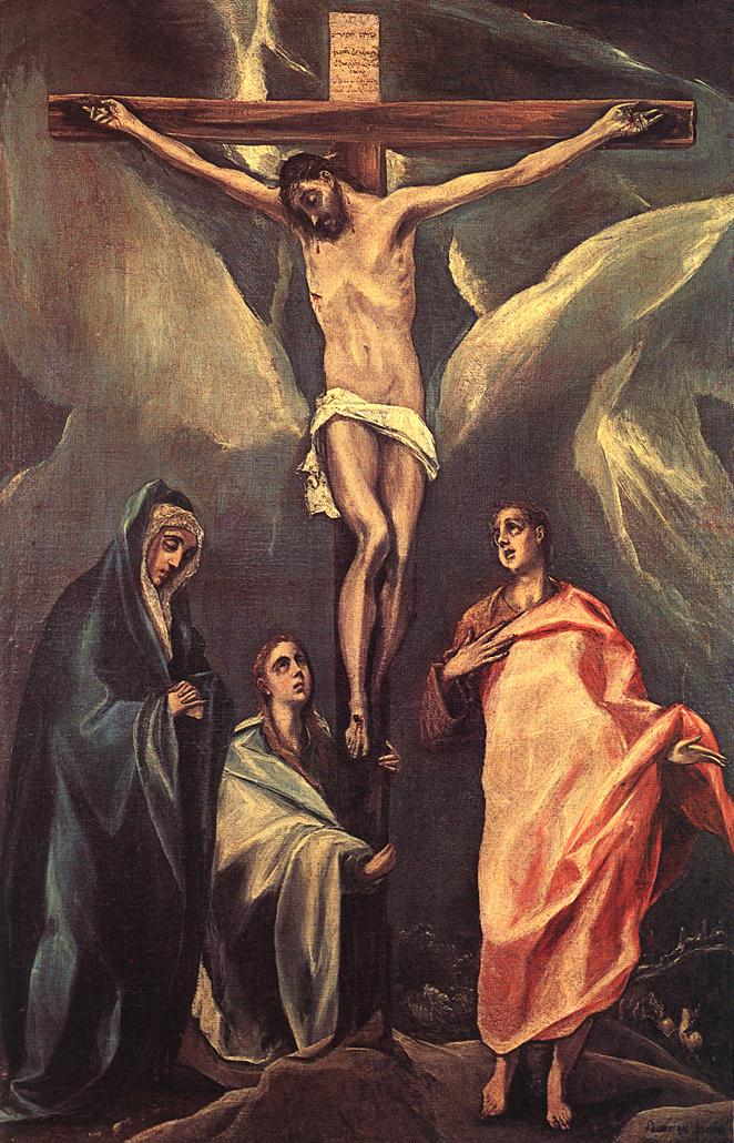 Christ On The Cross With The Two Maries And St John 1588 | El Greco | Oil Painting