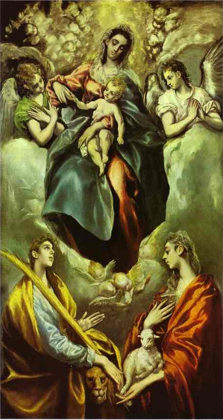 Madonna And Child With St Martina And St Agnes 1597-1599 | El Greco | Oil Painting