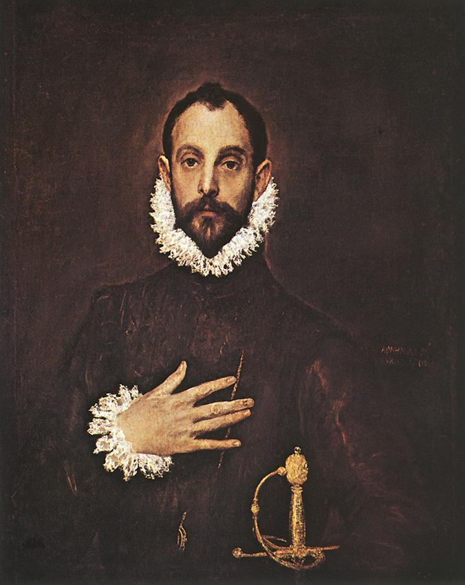 The Knight With His Hand On His Breast 1577-84 | El Greco | Oil Painting