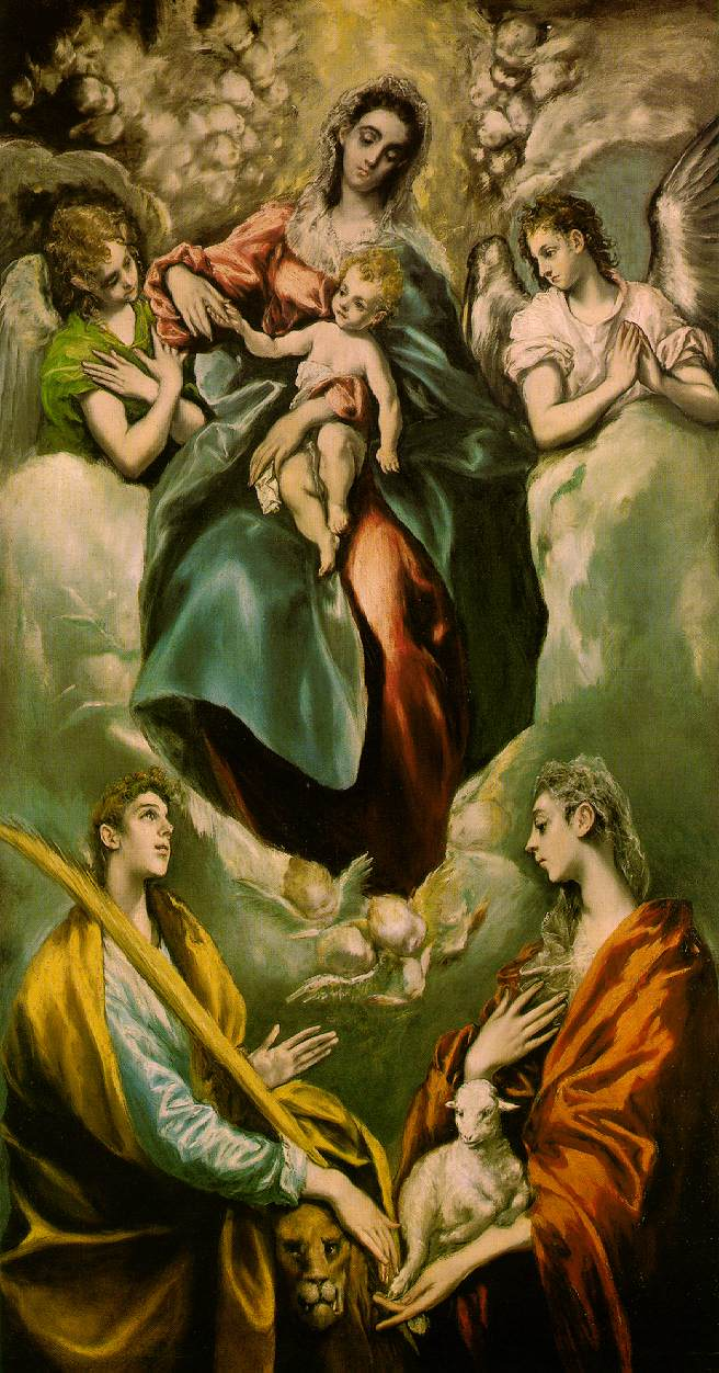 Virgin And Child With St Martina And St Agnes 1597-99 | El Greco | Oil Painting