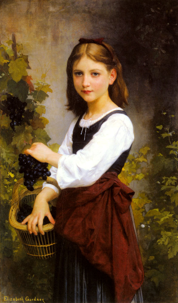 A Young Girl Holding A Basket | Elizabeth Bouguereau | Oil Painting