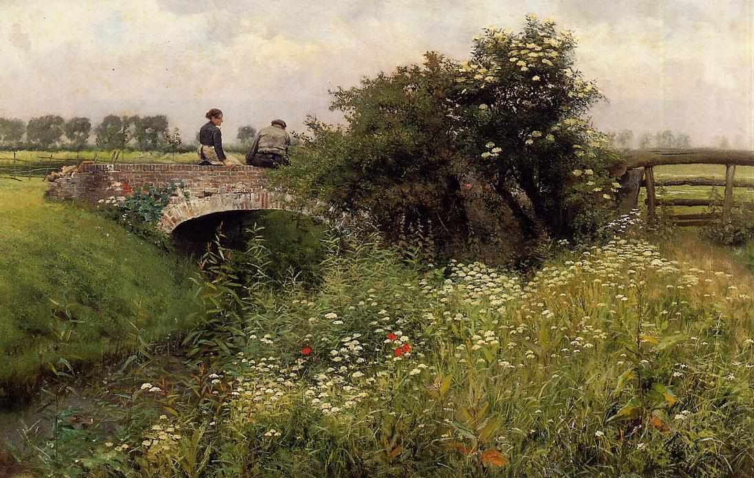 A Meeting on the Bridge | Emil Claus | Oil Painting