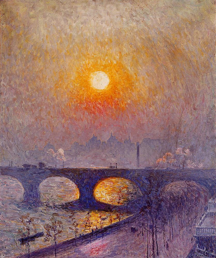 Sunset over Waterloo Bridge  1916 | Emil Claus | Oil Painting