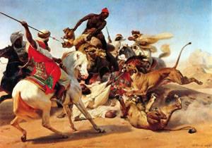 The Lion Hunt | Emile-Jean-Horace Vernet | Oil Painting