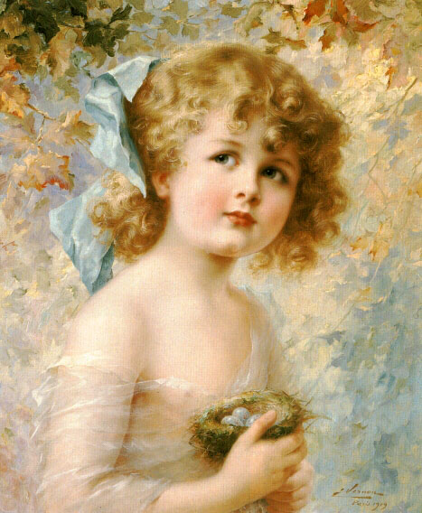 Girl Holding a Nest | Emile Vernon | Oil Painting