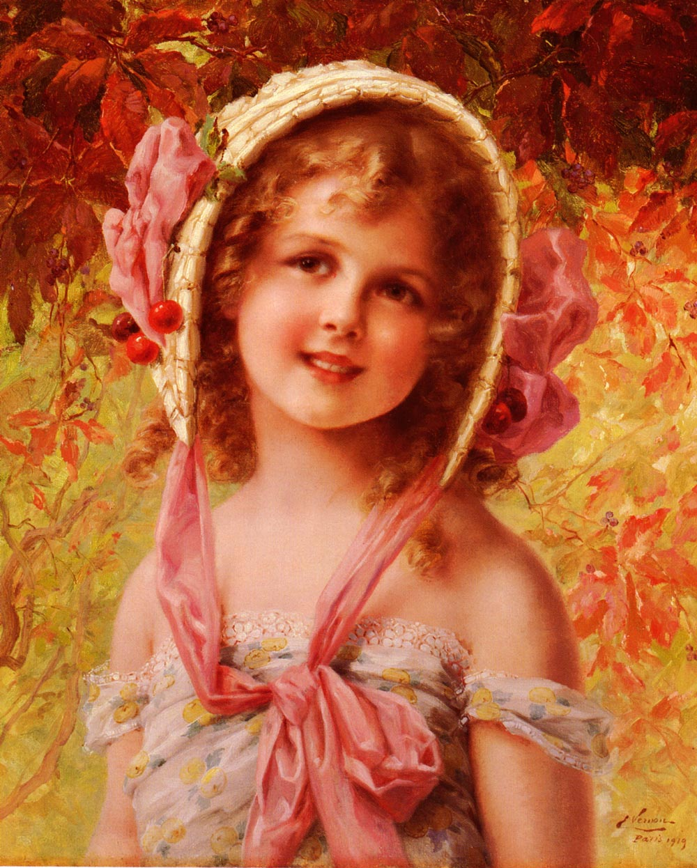 The Cherry Bonnet | Emile Vernon | Oil Painting