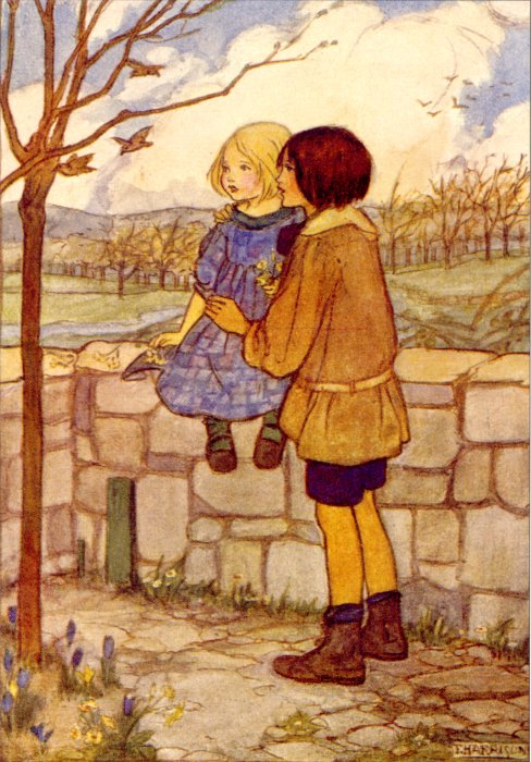 Childs Talk In April Circa 1910 | Emma Florence Harrison | Oil Painting