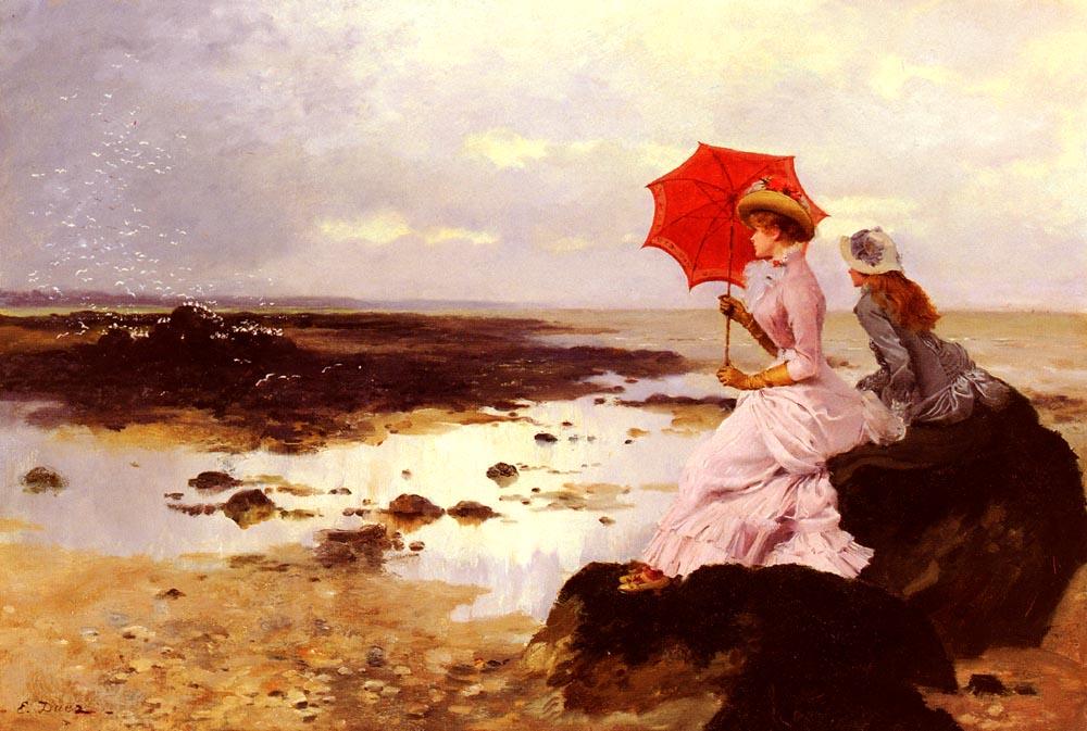 Au Bord De La Plage Sur Un Rocher   Ernest Ange Duez   Oil Painting