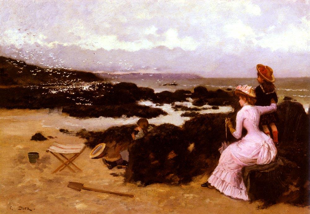 Femme Et Enfants Sur La Plage   Ernest Ange Duez   Oil Painting