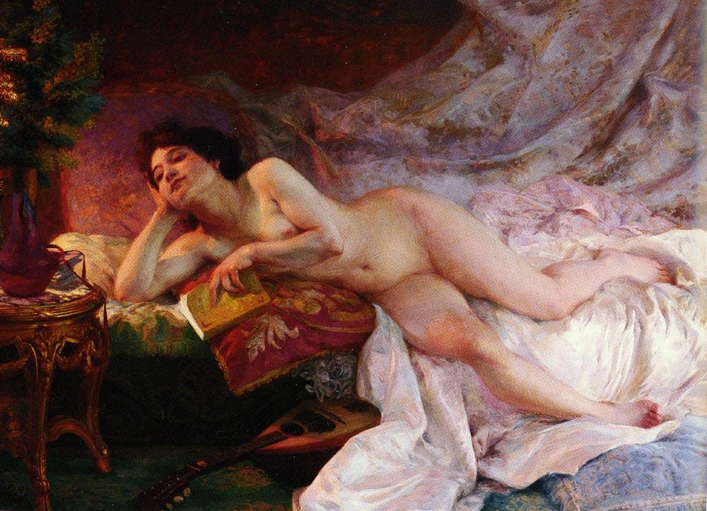 La Derniere Page Du Roman   Ernst Edouard Martens   Oil Painting