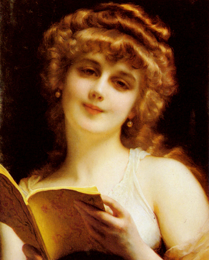 A Blonde Beauty Holding A Book | Etienne Adolphe Piot | Oil Painting