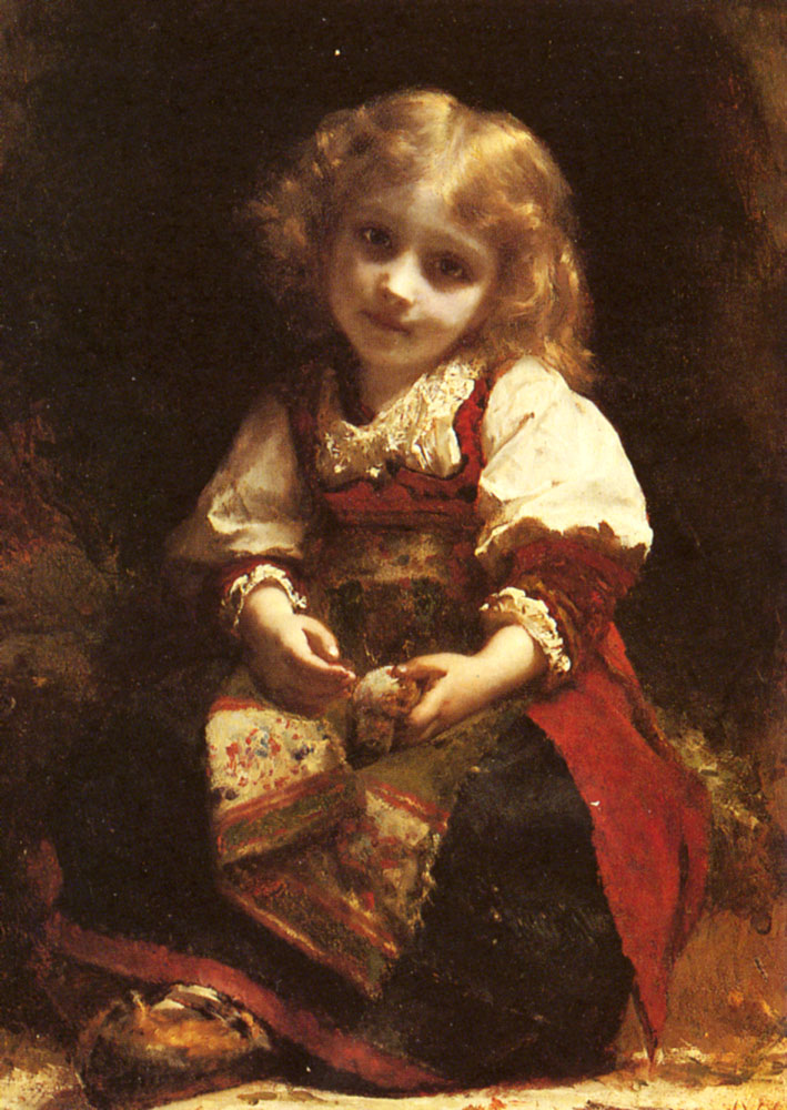 A Little Girl Holding A Bird | Etienne Adolphe Piot | Oil Painting