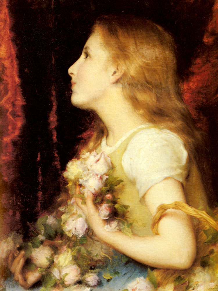 A Young Girl With A Basket Of Flowers | Etienne Adolphe Piot | Oil Painting