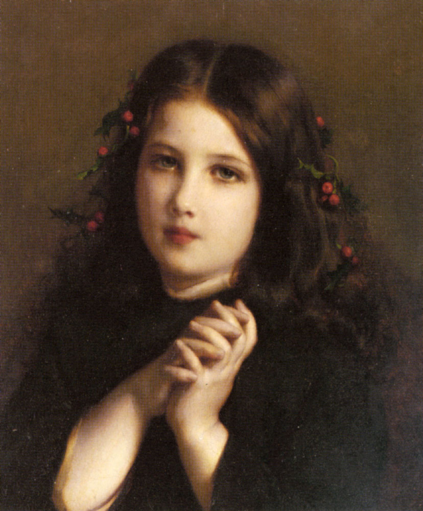 A Young Girl With Holly Berries In Her Hair | Etienne Adolphe Piot | Oil Painting