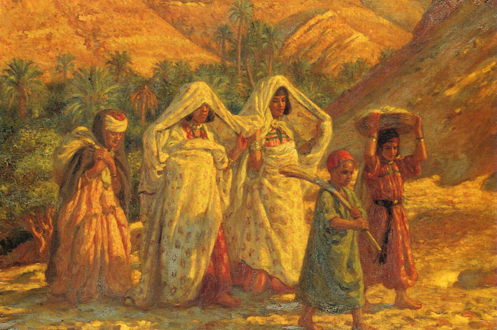 Arab Women And Children   Etienne Dinet   Oil Painting