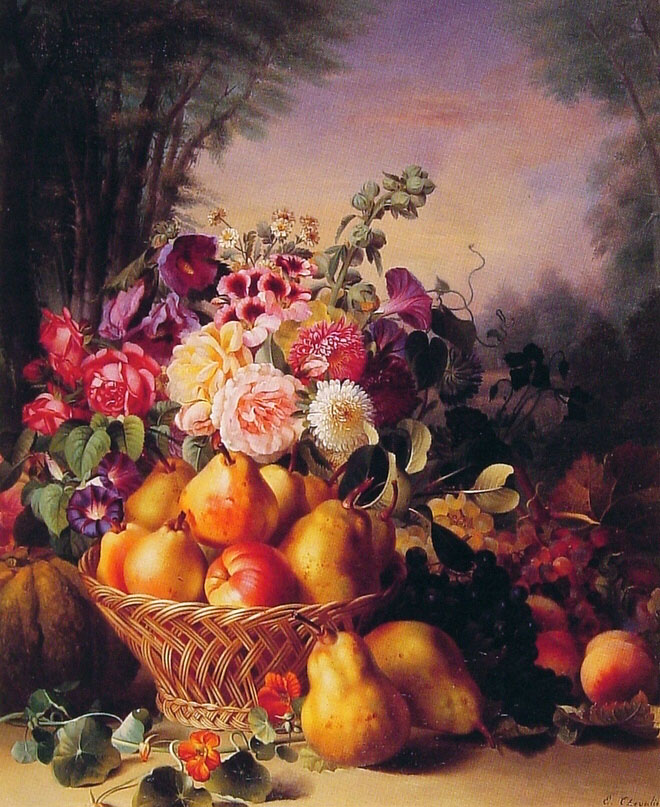 Still Life of Flowers and Fruits1 | Eugene Adolphe Chevalier | Oil Painting