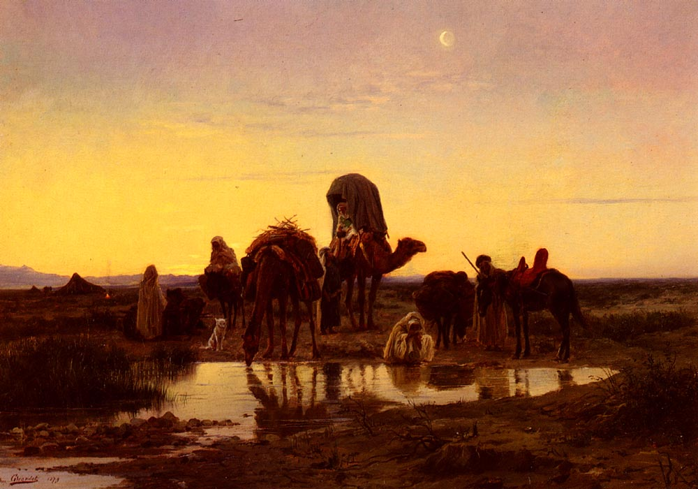 Camel Train By An Oasis At Dawn | Eugene Alexis Girardet | Oil Painting