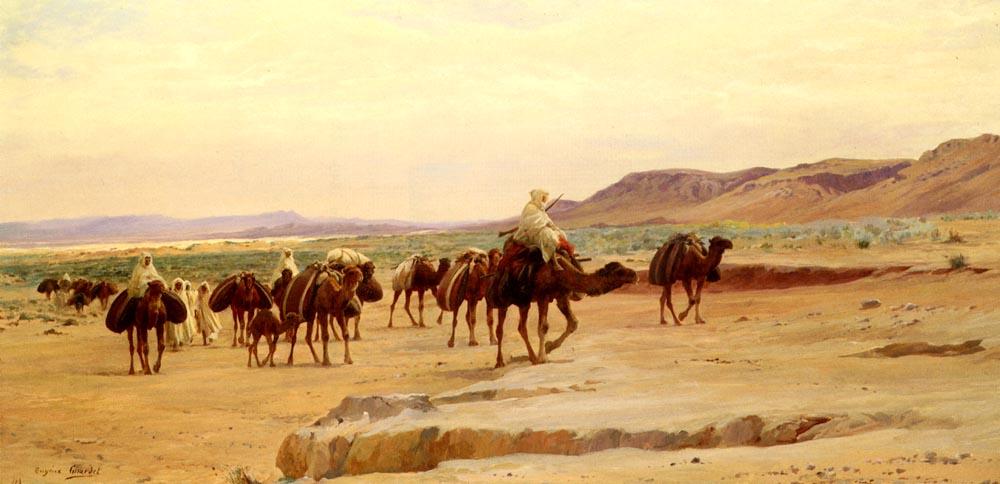 Caravanes De Sel Dans Le Desert | Eugene Alexis Girardet | Oil Painting