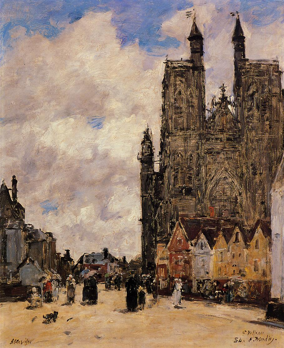 Abbeville Street and the Church of Saint-Folfran 1892 | Eugene Louis Boudin | Oil Painting