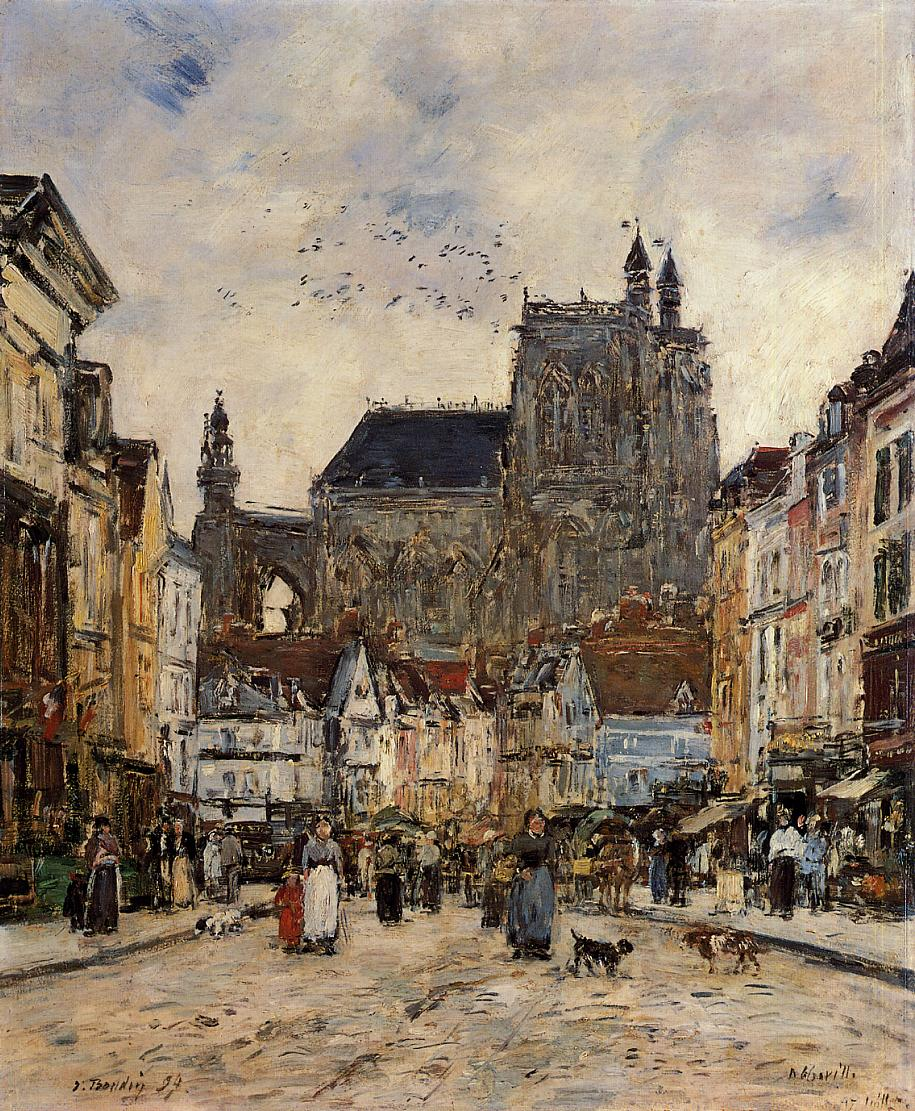 Abbeville Street and the Church of Saint-Vulfran 1894 | Eugene Louis Boudin | Oil Painting