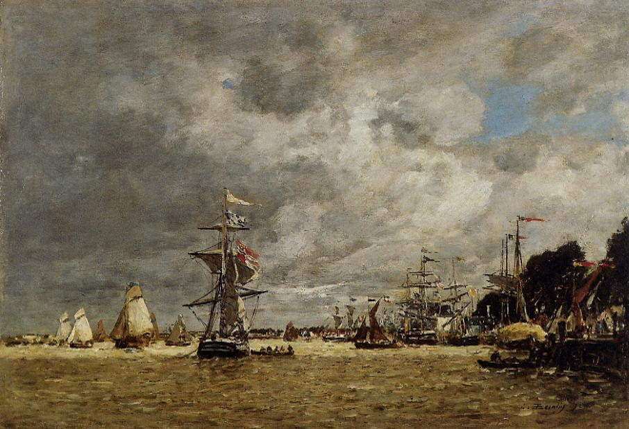 Anvers Boats on the Ecaut 1872 | Eugene Louis Boudin | Oil Painting