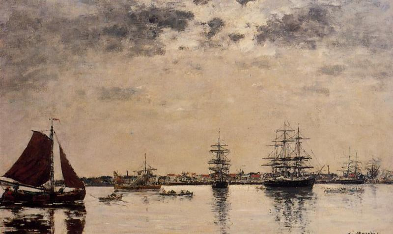 Anvers boats on the River Scheldt 1871-1874 | Eugene Louis Boudin | Oil Painting