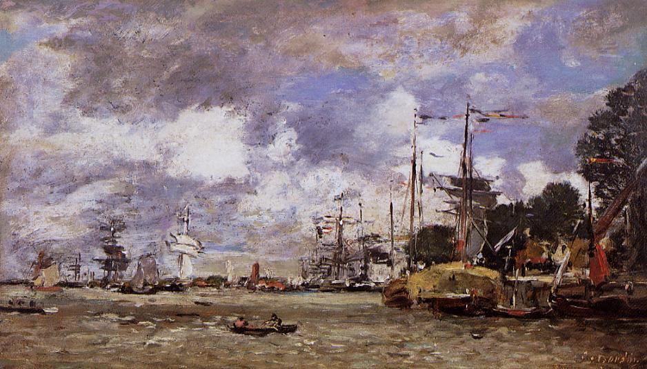 Anvers Boats on the River Scheldt 1871   Eugene Louis Boudin   Oil Painting