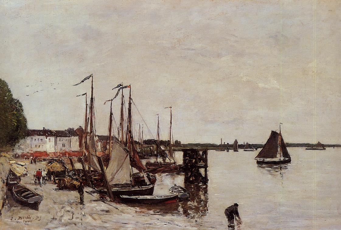 Anvers Fishing Boats 1871 | Eugene Louis Boudin | Oil Painting