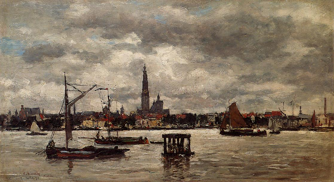 Anvers the Scheldt 1871   Eugene Louis Boudin   Oil Painting