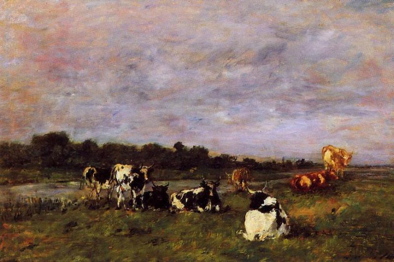 A Pasture on the Banks of the Touques 1880-1885 | Eugene Louis Boudin | Oil Painting