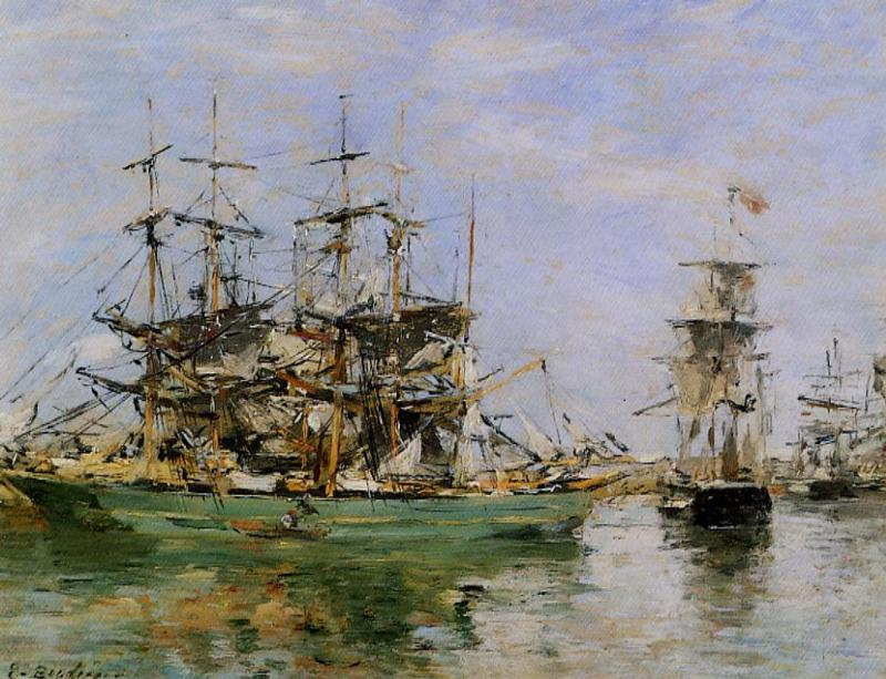 A Three Masted Ship in Port 1880-1885 | Eugene Louis Boudin | Oil Painting