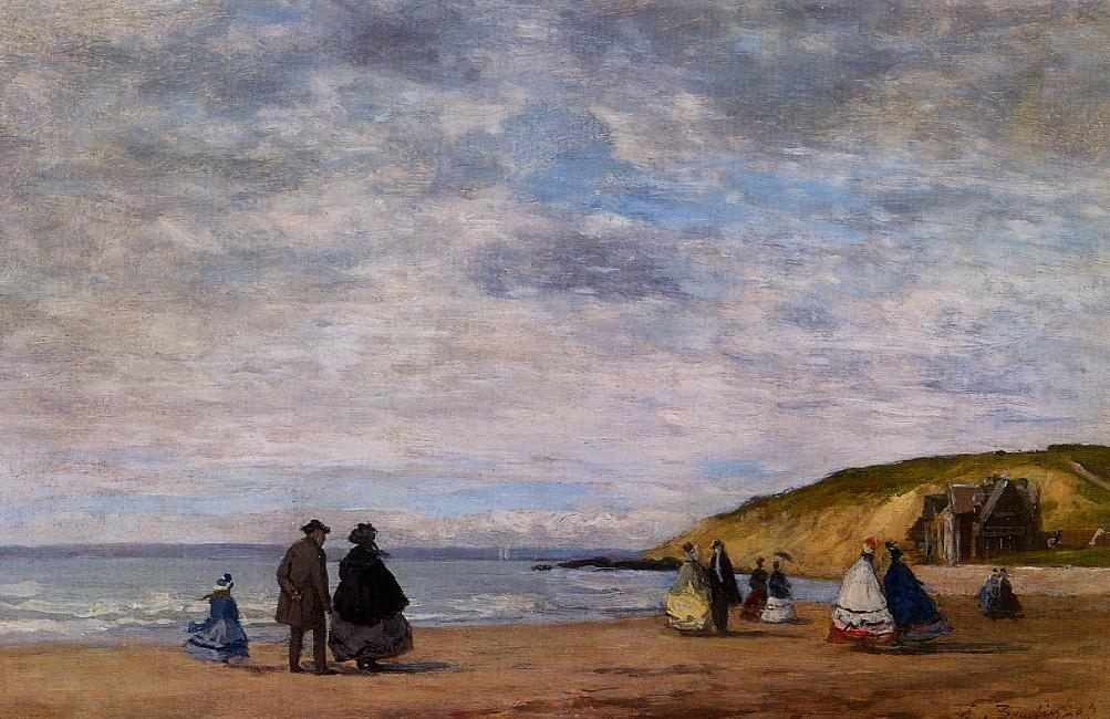 A Walk on the Beach 1863 | Eugene Louis Boudin | Oil Painting