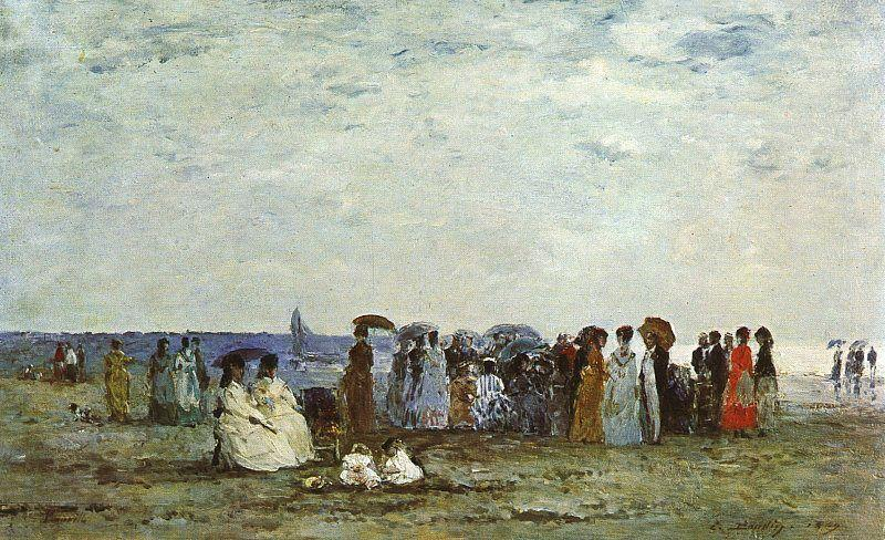Bathers on the Beach at Trouville 1869 | Eugene Louis Boudin | Oil Painting