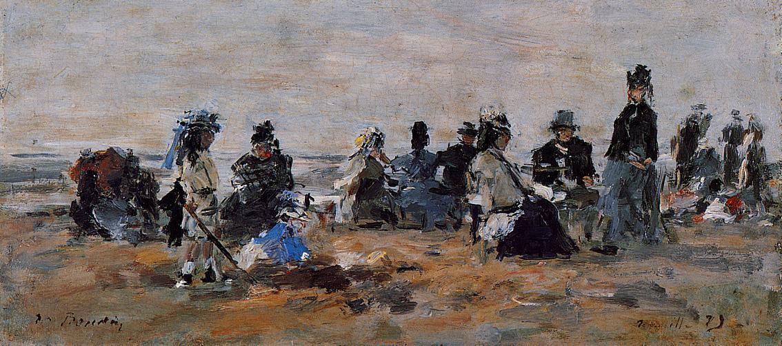 Beach Scene at Trouville Evening 1875 | Eugene Louis Boudin | Oil Painting