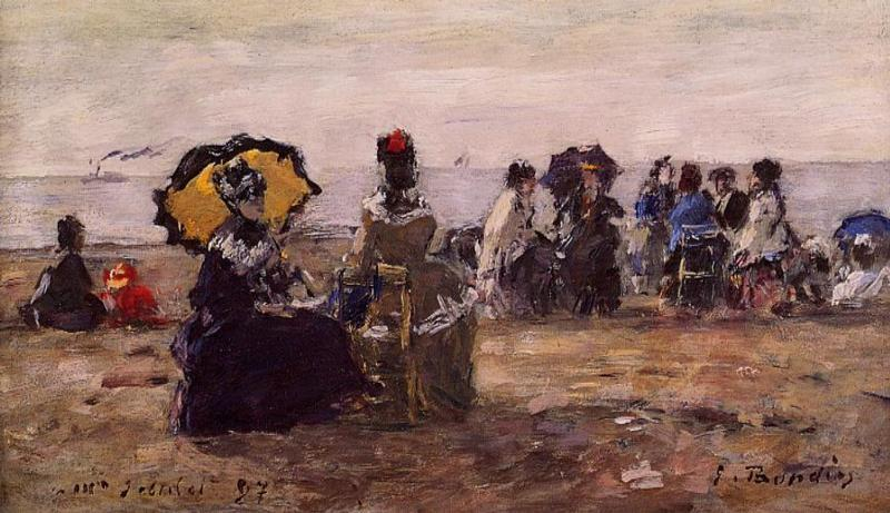 Beach Scene the Yellow Parasol 1887 | Eugene Louis Boudin | Oil Painting