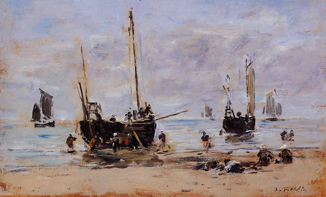 Berck Fishermen at Low Tide 1880-1885 | Eugene Louis Boudin | Oil Painting