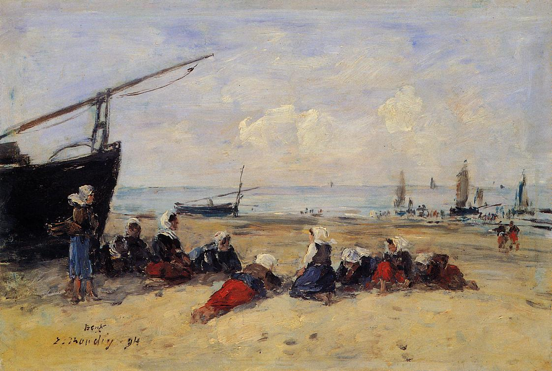 Berck Fisherwomen on the Beach Low Tide 1894 | Eugene Louis Boudin | Oil Painting