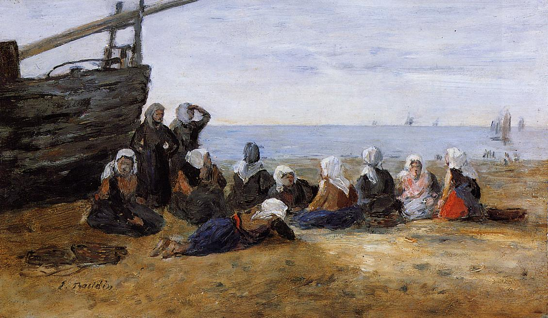 Berck Group of Fishwomen Seated on the Beach 1880-1885 | Eugene Louis Boudin | Oil Painting